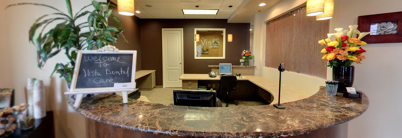 Welcoming front desk at Vista Dental Care