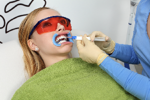 Woman receiving dental care