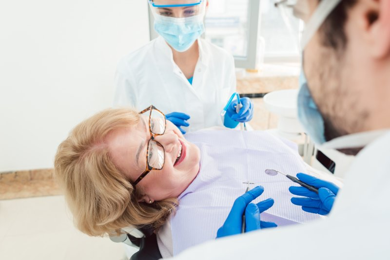 Female patient at routine dental appointment